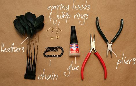 hacer pendientes de plumas