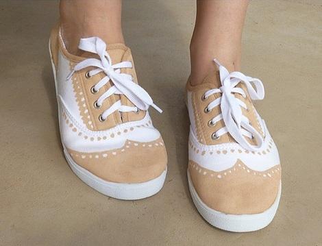 pintar zapatillas bicolor
