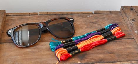 decorar-gafas-de-sol-con-hilos-materiales