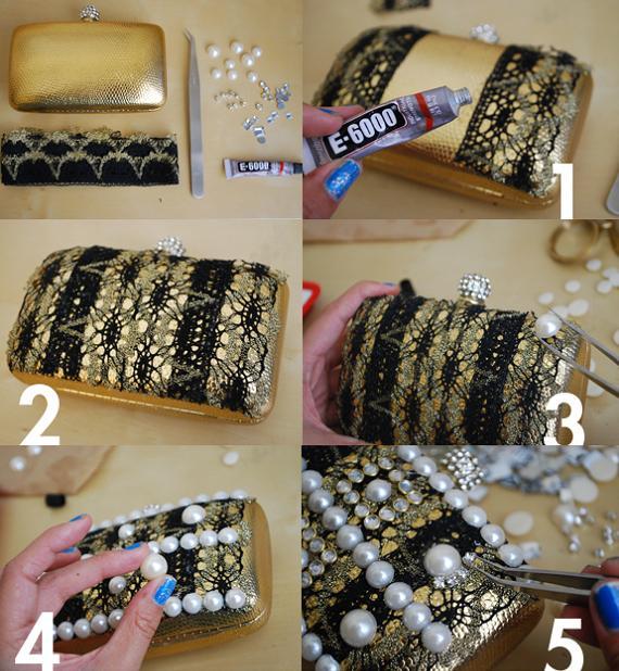 como hacer un bolso caja de fiesta decorado con piedras