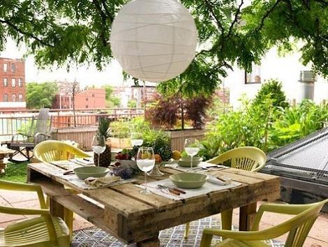 Mesa jardín palets