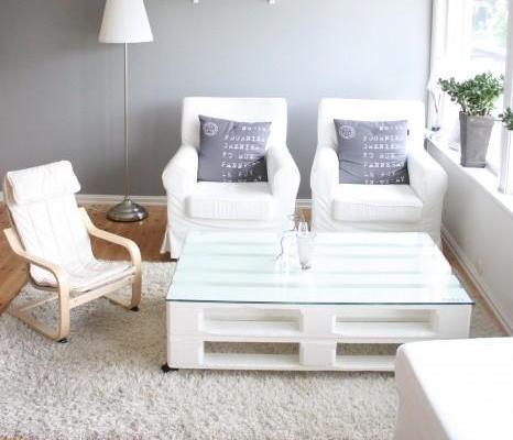 Mesa palets blanca