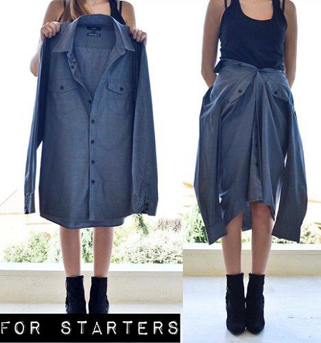 como hacer tu falda camisa de moda otoño 2013