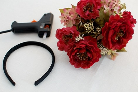 diadema de flores casera materiales