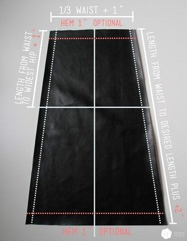 falda tubo piel casera cortar