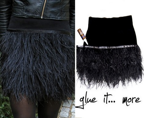 falda casera de plumas