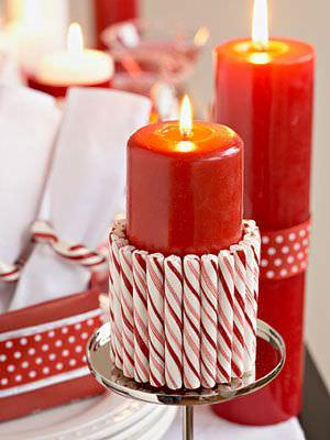 velas con caramelos navidad