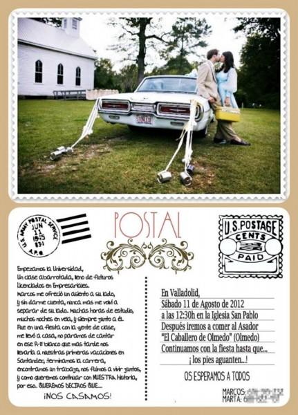 Invitación casera boda