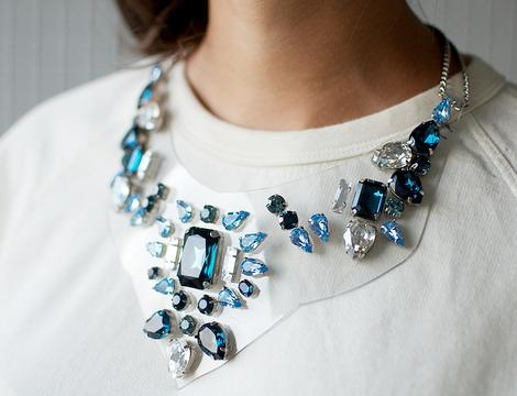 hacer collar babero con cristales