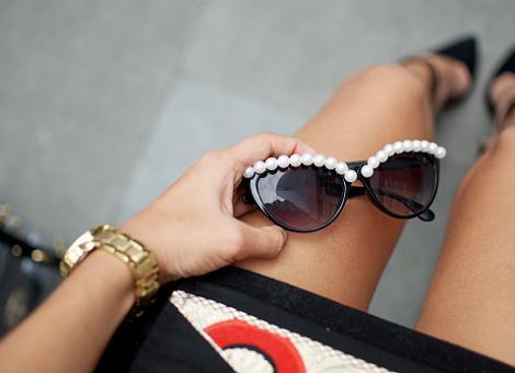Gafas de sol con perlas