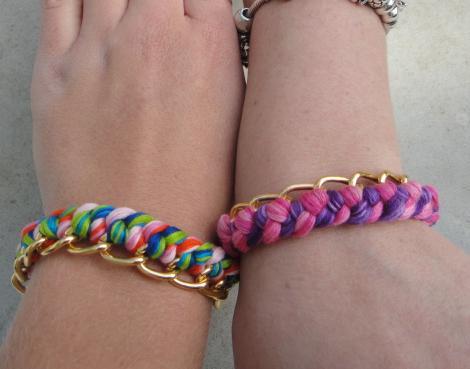 pulseras de hilos y cadena