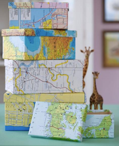 Forrar cajas con mapas