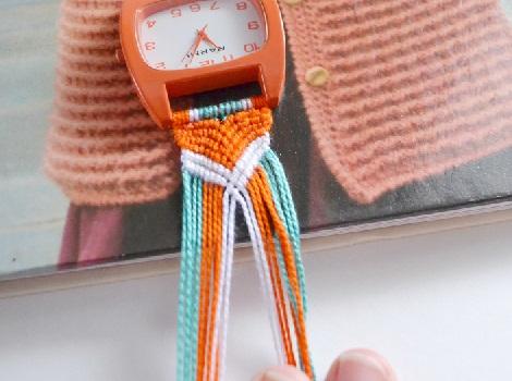 hacer reloj macrame verano trenza