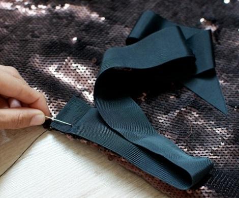 hacer falda cruzada moda lentejuelas lazo
