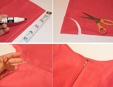 corta la cintura y cose la cremallera de tu falda