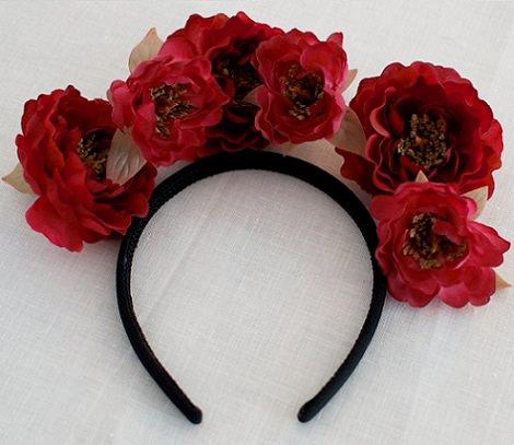 corona de flores casera capullos