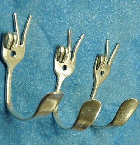 colgador ropa casero tenedores